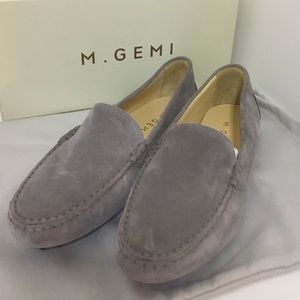 M. Gemi gray suede loafer slip on shoes